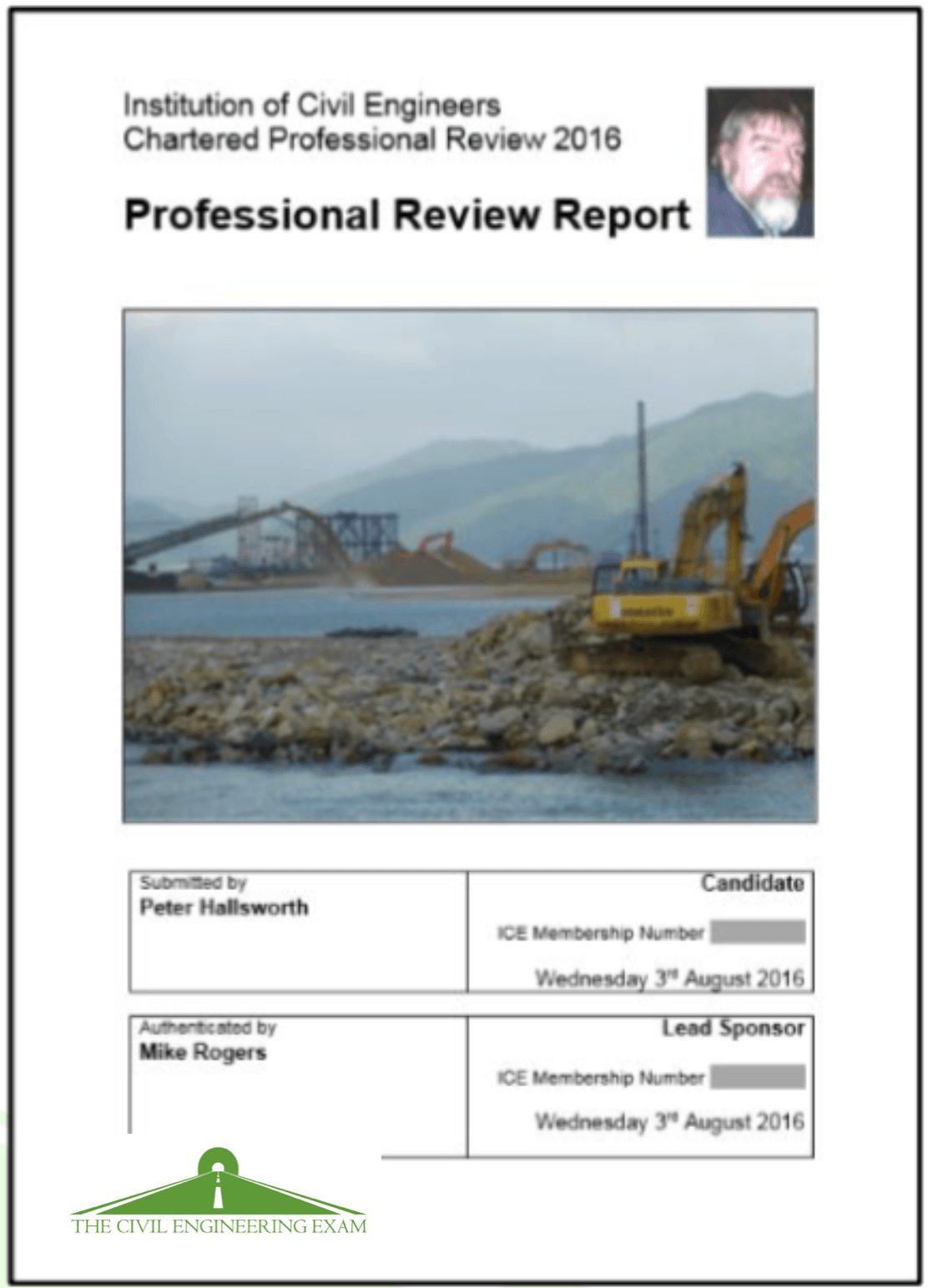ice professional report format  template  civil engineering exam